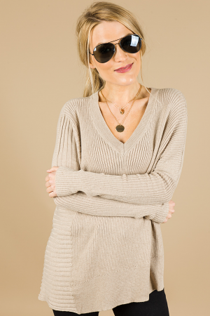 Reagan Ribbed Sweater, Taupe