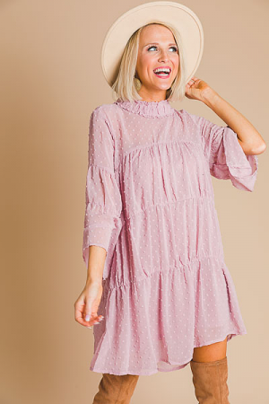 Tiered Swiss Dot Frock, Mauve