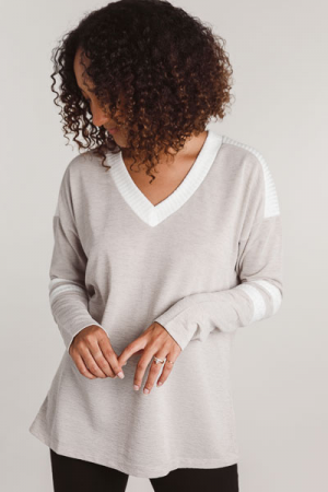 Taupe Varsity Sweater
