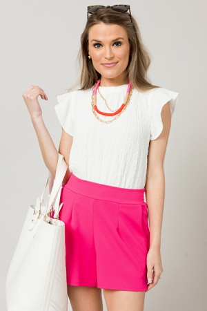 Textured Stretch Top, White
