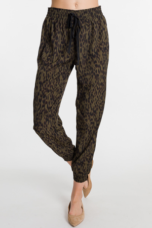 Olive Leopard Woven Joggers