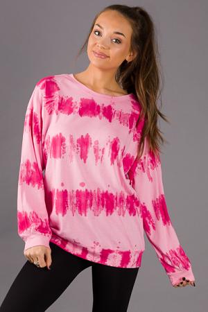 Tie Dye LS Pullover, Pink