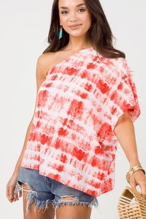 One Shoulder Dye Blouse, Coral