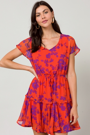 Rio Bold Floral Dress, Orange