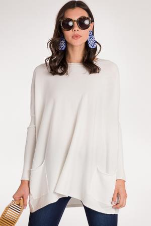 Double Pocket Sweater, White