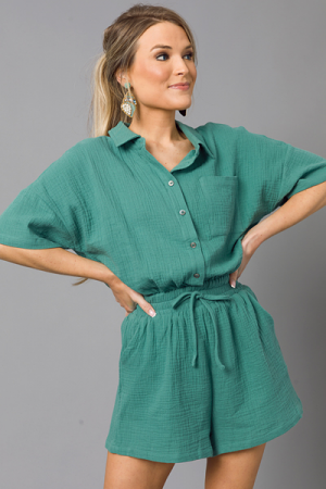 Puffed Gauze Romper, Dusty Teal