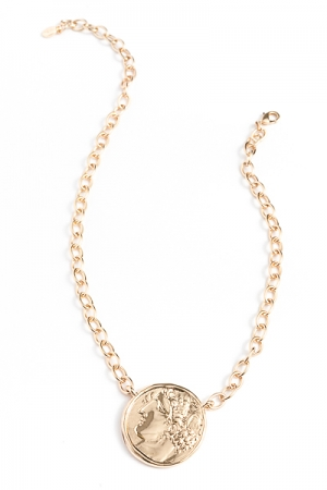 Oversized Coin Necklace, Gold