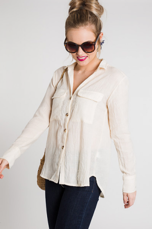 Easy Day Button Up, Cream