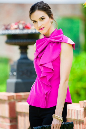 Big Bow Blouse, Fuchsia