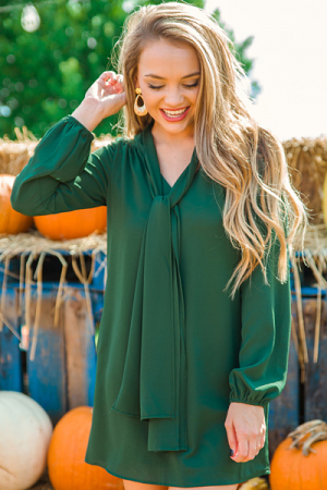Tie Neck Dress, Hunter Green