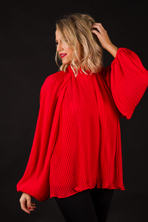 Fully Pleated Blouse, Red