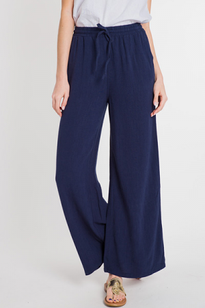 Drawstring Linen Pants, Navy