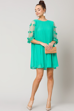Illusion Sleeves Dress, Emerald