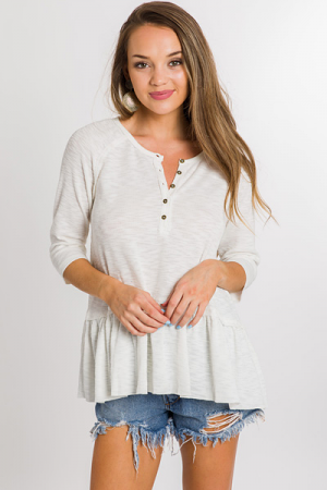 Peplum Henley, Off White