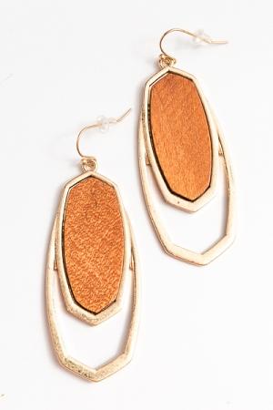 Wood Double Layer Earrings, Brown