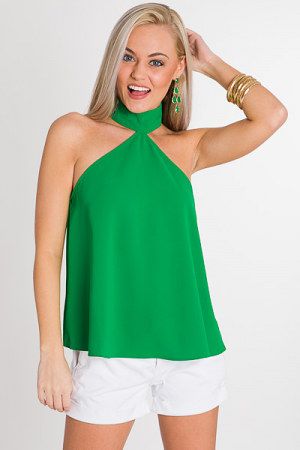 High Neck Halter, Green