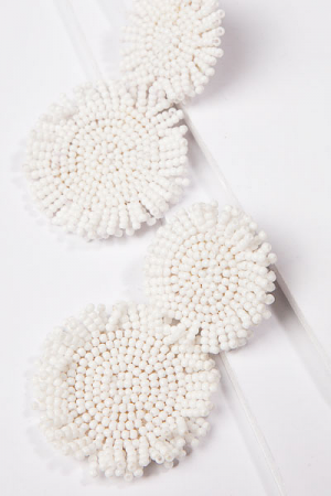 Beaded Circle Earring, White