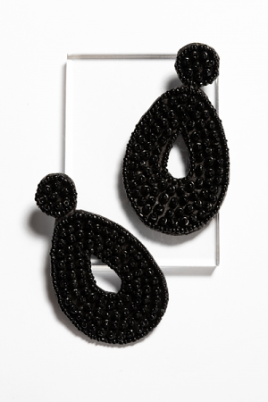 Bubble Bead Earring, Black