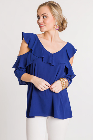 Open Shoulder Ruffle Top, Cobalt