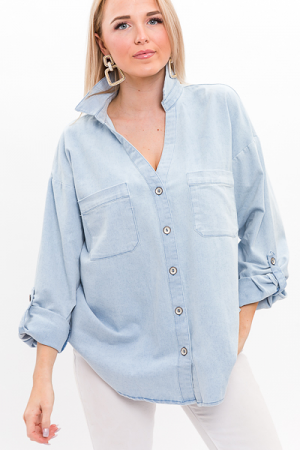 Chambray Silver Buttons Top