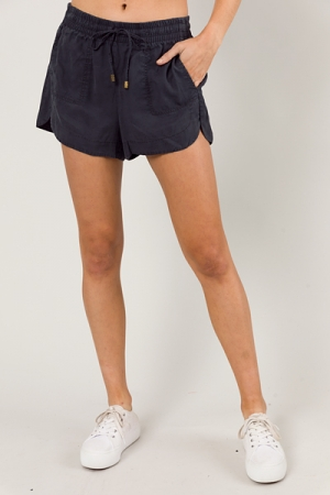 Charcoal Pull On Shorts