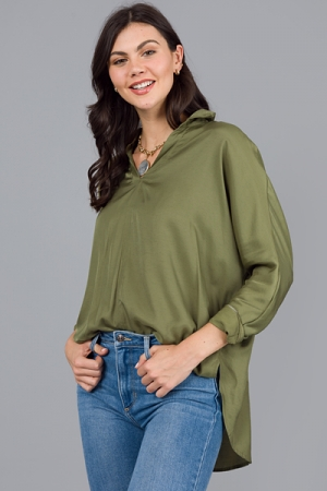 Dolman Collared Blouse, Olive