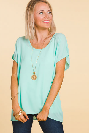 Basic Chiffon Top, Ocean Wave