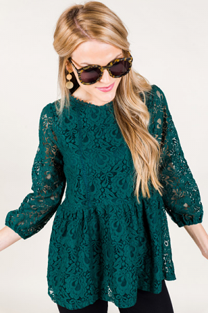 Evergreen Lace Top