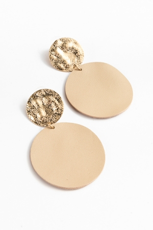 Leather & Hammered Disc, Beige