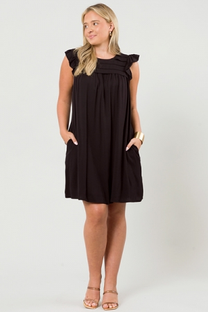 Pleat Chest Dress, Black