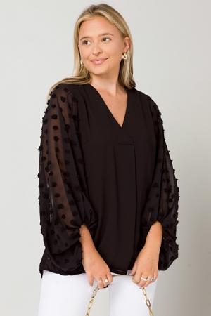 Spot Sleeves Woven Blouse, Black