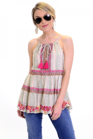 Paisley Embroidery Tank