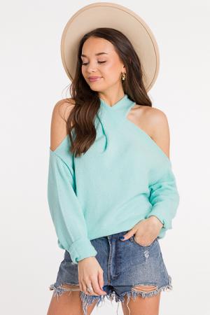 Twist Halter Sweater, Aqua