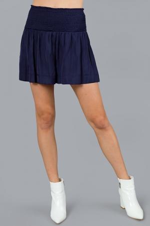 Silky Smocked Shorts, Navy
