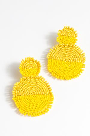 Double Yellow Discs Earring