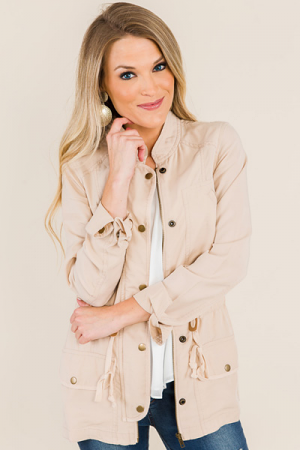 Airy Military Jacket, Champagne