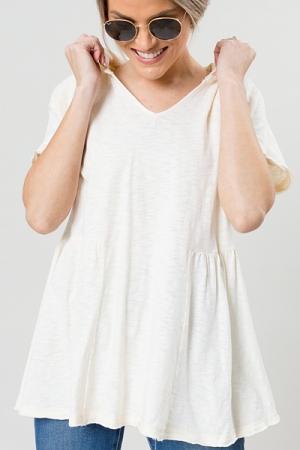 Hooded Babydoll Top, Cream