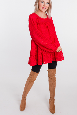 Texture Spots Blouse, Red