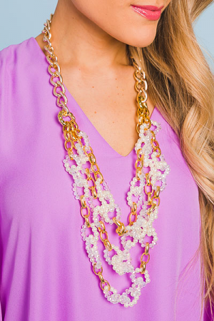 Pearl Crystal Long Necklace