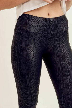 Snake Leather Leggings, Black