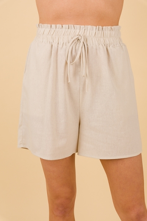 High Waist Linen Shorts, Natural