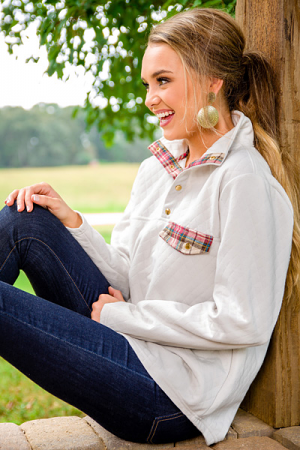 Quin Quilted Pullover, Ivory