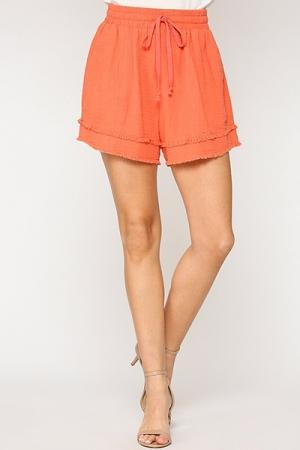 Fray Leg Puffed Shorts, Cantaloupe