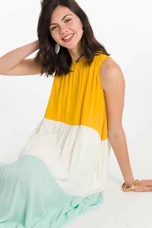Colorblock Midi Dress, Yellow