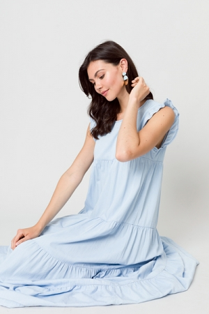 Chambray Tiered Maxi Dress
