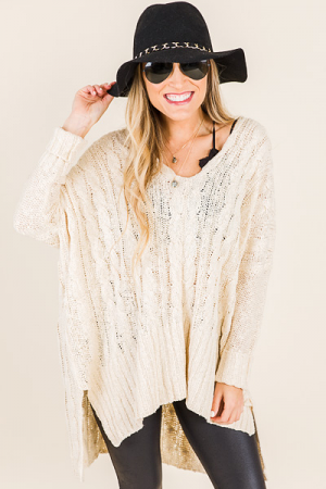 Oversize Cable Sweater, Vanilla