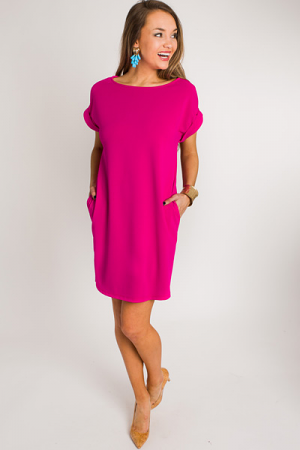 Emma Pocket Dress, Fuchsia