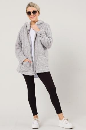 Furry Open Front Hoodie, Grey