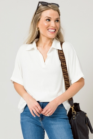 Casually Collared Top, Ivory