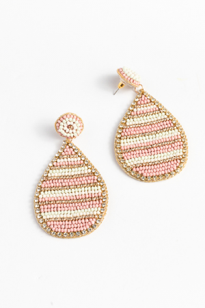 Stripe Teardrop Earrings, Blush